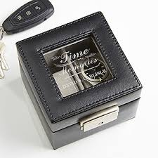 leather photo albums engraved engraved leather 2 slot box gift of time