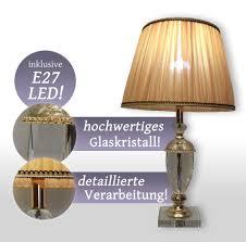 Schlafzimmer Lampe Gold Nachttischlampe Led Kristall Tischleuchte Schirm Leselampe