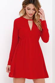 cute red dress long sleeve dress babydoll dress 63 00