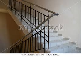 stainless steel banister rails stairs office building design handrails stainless stock photo