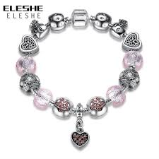 pink heart bracelet images Eleshe valentine 39 s jewelry original 925 spacer silver heart charm jpg