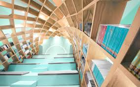 Book Self Design by Geometric Bookshelf Turns The Library Into A Personal Reading Pod