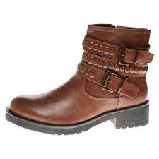 ladies brown biker boots womens biker boots ladies smart casual biker shoes studded strap