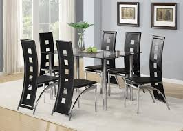 Black Glass Dining Room Table Set And With  Or  Faux Leather - Black glass dining room sets