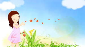 wallpaper cute child playing flowers clouds fantasy 941