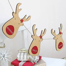 personalised reindeer wooden bunting buntings wooden crafts and