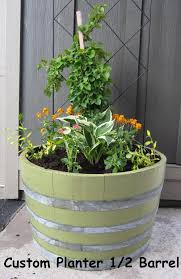 Half Barrel Planter by 1 2 Wine Barrel Planterstave Designs