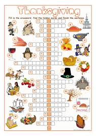 thanksgiving crossword puzzle worksheet free esl printable