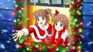 Anime Christmas Tree Ornaments Os Tan Original Blue Eyes Brown Hair Christmas Elbow Gloves Hat