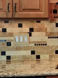 Free Backsplash Samples by Brown Glass Travertine Mix Backsplash Tile For Traditional Kitchen