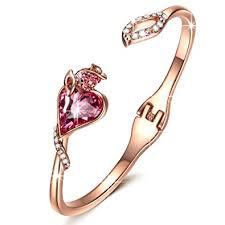 bangle bracelet with crystal images Qianse rose lover rose gold bangle bracelets swarovski jpg