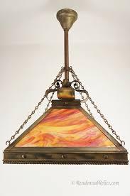 Orange Glass Chandelier Large Arts And Crafts Antique Slag Glass Chandelier Circa 1910s