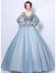 dusty wedding dress dusty blue gown v neck floor length tulle wedding dress with