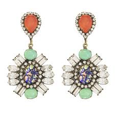 statement earrings j crew jeweled fan drop earrings rank style