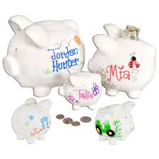 monogrammed piggy banks personalized ceramic piggy banks 3 sizes gift baskets