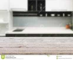 Kitchen Background Empty Wooden Table And Kitchen Background Stock Photo Image