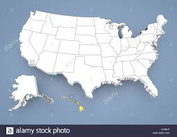 us map states hawaii hawaii hi highlighted on a contour map of usa united states of