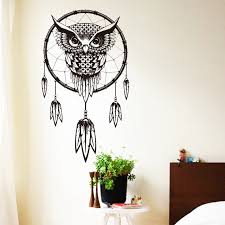 owl home decor art design indian dream catcher vinyl owl home decor wall sticker