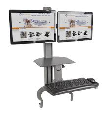 2 Monitor Computer Desk Taskmate Go Dual Monitor Desk Top Sit Stand Officechairsusa Com