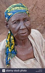 elderly woman of gambaga ghana with tribal tattoos on face stock