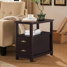 narrow end tables living room amazon com go2buy sofa side narrow end table with 2 drawer and