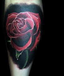 natural looking colored forearm tattoo of realistic red rose