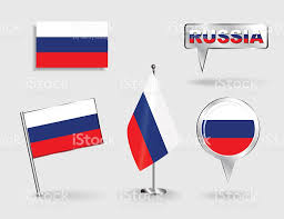 set of russian pin icon and map pointer flags vector stock vector