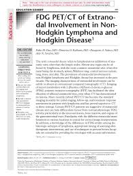 fdg pet ct ofextra nodal involvement in non hodgkin lymphoma and