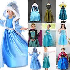 Anna Elsa Halloween Costumes Satin Cartoon Characters Costumes Ebay