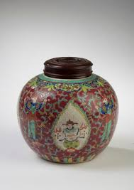 chinese export porcelain famille rose rose ground ginger jar with