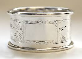 sterling silver napkin ring with engraved pattern