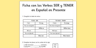 ficha verbos ser estar y tener en presente simple en español