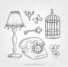 pack of vintage objects sketches vector free download