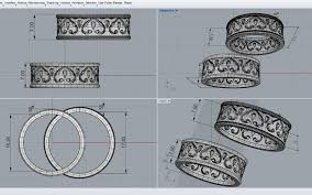 3d print model wedding rings with ornament cgtrader