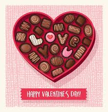 chocolate s day heart shaped valentines day candy box with chocolates stock vector
