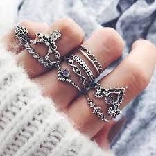 silver rings set images 10 pc boho silver purple stone ring set gogetglam jpg