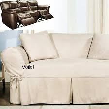 Slipcover For Dual Reclining Sofa Reclining Sofa Slipcover Ivory Heavy Suede Adapted For Dual