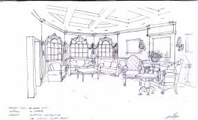 living room made design with freehand drawing has sofa living