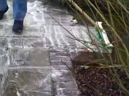 How To Clean Patio Slabs Without Pressure Washer How To Clean Black Lichen Off Any Paving Stone Paving Concrete