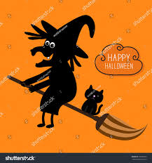 orange black halloween background happy halloween witch black cat silhouette stock vector 315089552