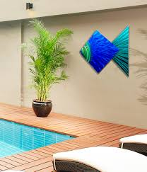 Fish Home Decor Accents Big Blue Fish Tropical Blue Metal Wall Art Accent By Jon Allen