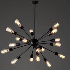 Vintage Sputnik Light Fixture Jeteven Vintage Metal Large Chandelier 18 Lights Industrial Edison