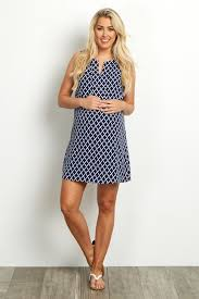 navy blue quatrefoil sleeveles tunic dress