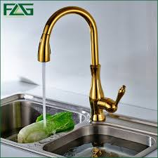 gold kitchen faucets flg free shipping pull out spray gold kitchen faucet and cold