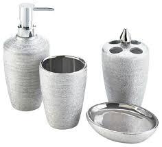 Silver Bathroom Accessories Sets Silver Shimmer Bath Accessory Set Contemporary Bathroom