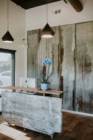 Barn Door Wall Decor by Barn Door Reception Desk Made With Reclaimed Wood And Metal Wall