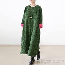 2017 winter green jacquard cotton dresses plus size thick warm