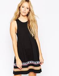 asos swing dress with embroidered tape detail in black lyst