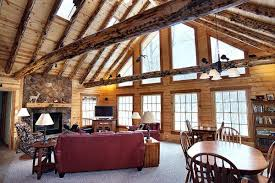 modern log home interiors witching log home interior design using river rock wall cladding