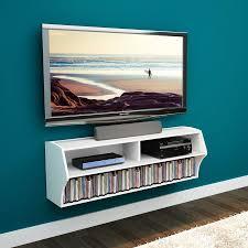 Wall Dvd Shelf Long Rectangle Black Polished Solid Wood Floating Media Shelf With
